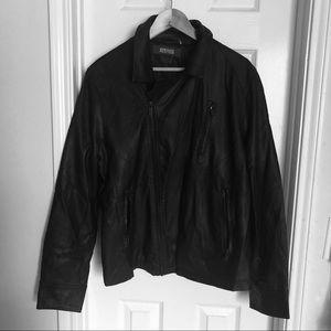 Kenneth Cole Vegan leather men black jacket sz L